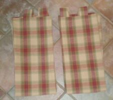 2 Tab Top Lined Woven Plaid Drapery Panels Gold Red Paprika Country Farmhouse