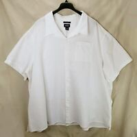 Harbor Bay Men's Plus Size Shirt 6XL White Seersucker Short Sleeves Excellent
