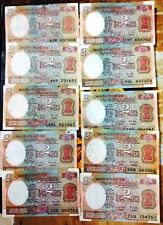 2 RUPEES 10 BANK NOTES SATELLITE ISSUE: SIGNED BY GOV. R.N.MALHOTRA FREE S/H