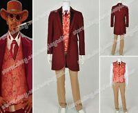 Django Unchained Monsieur Calvin J Candie Cosplay Costume Dark Red Long Coat New