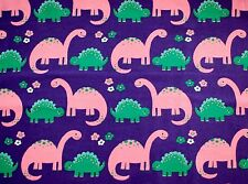 """PINK & GREEN DINOSAURS ON PURPLE FLANNEL 100% COTTON MATERIAL 2 YDS 42x72"""""""