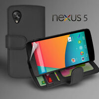 Black Side ID Wallet Leather Case Cover for LG Google Nexus 5 / D821+ Screen Gd