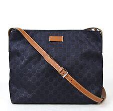 New Gucci GG Guccissima Nylon Messenger Bag Dark Blue 308840 4096