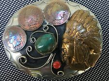 Native American Squaw Wrap Indian Head Cent Belt Buckle with Turquoise & Coral