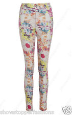 NEW WOMENS SKINNY JEANS HIGH WAISTED FLORAL SLIM JEGGINGS PANT SIZE 6/8/10/12/14