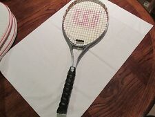 "Tennis Raquet, ""Wilson"" Silver and White Design"
