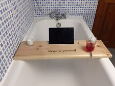 Wooden Bath Caddy Board With Wine Holder, 2 FREE Candles & Tablet/Mobile Holder