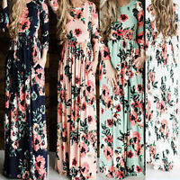 Womens Floral Long Maxi Dress Long Sleeve Evening Party Summer Dress Casual