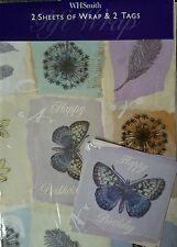 2 SHEETS OF BUTTERFLY WRAPPING PAPER WITH MATCHING 2 GIFT TAGS