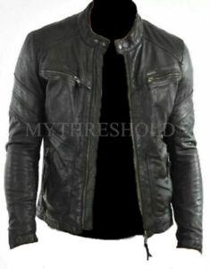 Men's Black Real Leather Jacket Cafe Racer Biker Genuine Leather Jacket