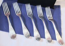 5 Antique Tiffany Young & Ellis Coin Silver Dinner Forks