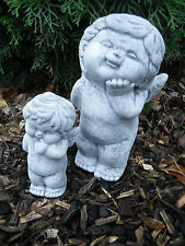 Steinfigur 2-er Set niedlicher Engel  Frostfest Wetterfest Grabschmuck Garten