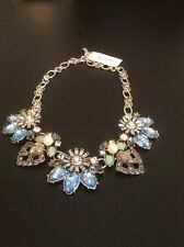 Rhinestone Necklace w/Pearl & Blue Glass, Silver Tone, Free Shipping