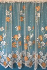 MARIGOLD FLORAL WHITE WITH ORANGE COLOURS STRAIGHT DESIGN  NET CURTAIN BY METRE