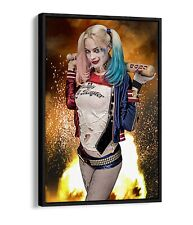 HARLEY QUINN B FLOAT EFFECT CANVAS WALL ART PICTURE PAPER PRINT- BLUE RED PINK