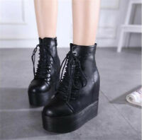 Women's Wedge High Heels Platform Lace Up Ankle Boots High Top Creepers Shoes Sz
