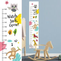 Personalised Cute Jungle Animals Monkey Birds Height Fabric Growth Chart