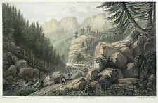 SÄCHSISCHE SCHWEIZ - Tiefer Grund - Batty - kolorierter Stahlstich 1827