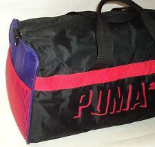 Vintage 90s Puma Gym Bag Duffel Workout Travel Black Purple Red Mesh Side Duffle