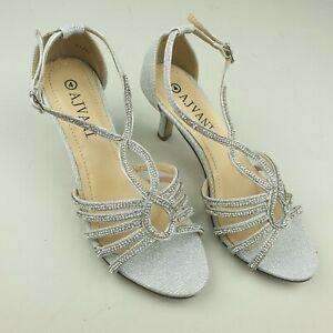 Women ladies mid heel strappy diamante glitter wedding evening T-bar sandals uk4