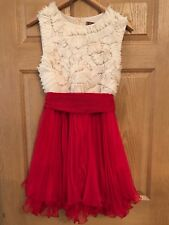 ASOS New Red And White Ruffled Skater Dress Christmas New Years Eve Size 12
