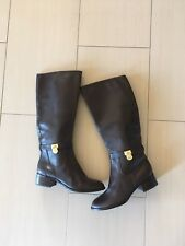 Michael Kors Hamilton Brown Leather Gold Hardware Women Boots Size 8.5