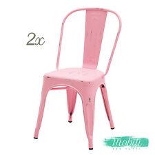 Sedia Stile INDUSTRY in Metallo Rosa Anticato - 2 Pezzi SPEDIZIONE GRATUITA