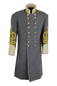 CONFEDERATE FROCK COAT, OFFICERS, DOUBLE BREASTED,WHITE SIZE 34 -54, NEW