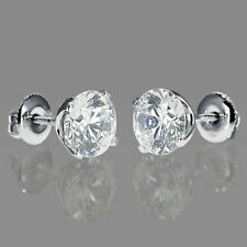 1 CT Solitaire Round-Cut Diamond Stud Earrings 14K White Gold Over Screw Back