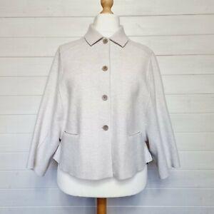 OSKA MOESSMER Boiled Wool Jacket (Size 2 UK 12 14) Light Grey Moon Lagenlook