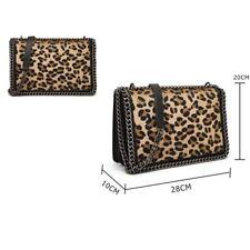 Women's DESIGNER Style Leopard Print Faux Pony Hair Flap Crossbody Bag