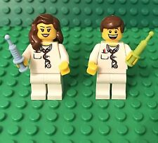 Lego X2 City Doctor / Nurse,Male And Female Mini Figures With Syringe Utensils