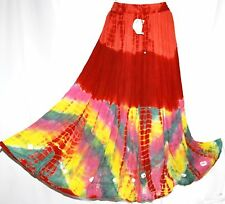 M Ethnic Tie Dye Tribal Bohemian Boho Gypsy Belly Dance Dancing Broomstick Skirt