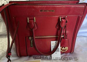 Michael Kors Red leather Colette Crossbody handbag Large