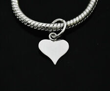 Silver 925 heart tag charm pendant ideal for branded bracelet or necklace