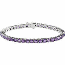"Natural Purple Amethysts Line Tennis Bracelet 14K. Solid White Gold 7.15"" length"