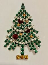 Eisenberg Ice Signed Christmas Tree Brooch Vintage Rhinestones Dangling Garland