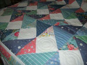 "Handmade Patchwork Quilt 56"" x 66"" Moda Fabric"