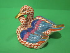 Herend Pair of Sitting Ducks #5036 Rust Fishnet Multi Color Wings Gold Accent