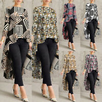 Women Casual Retro Long Sleeve Tops Shirt Asymmetrical Waterfall Blouse T-Shirt