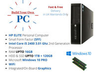 FAST HP CORE i5 PC COMPUTER DESKTOP 16GB 1TB HDD+SSD WIN 10 PRO WiFi