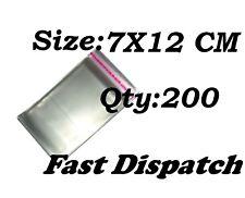 200 di 7 x 12 cm chiaro display VIOLONCELLO SACCHETTI DI CELLOPHANE Autoadesivo Peel & Seal