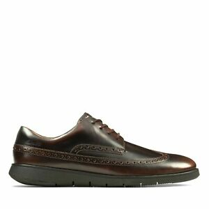 Clarks Mens Helston Limit Dark Tan Leather Smart Casual Brogue Shoes