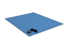 """3 Layer Vinyl ESD Anti-Static Mat- W/GROUND CABLE- 18"""" X 24""""-Blue -Free Shipping"""