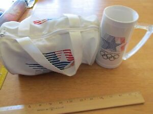 VTG 1984 Los Angeles Olympics miniature Bag Red White Blue With Collection+ MUG