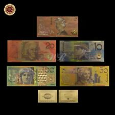WR 3D Gold Coloured Australian Bank Note $5 - $100 Dollar Set Gold Foil Crafts