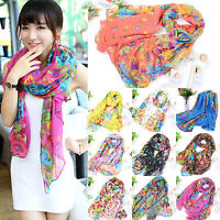 Womens Long Print Cotton Scarf Wrap Ladies Floral Shawl Girls Large Silk Scarves
