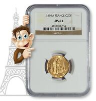 "1897A Gold 20 Franc NGC MS63 -- ""Lucky"" Angel Coin (#10013)"