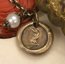 Strong & Vigilant Rooster Bird Tiny Pendant Necklace Antique Wax Seal Jewelry