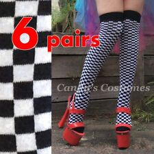 6 pairs CHEQUERED Over-the-Knee SOCKS Grid Girl COSTUME Thigh High ROLLER DERBY